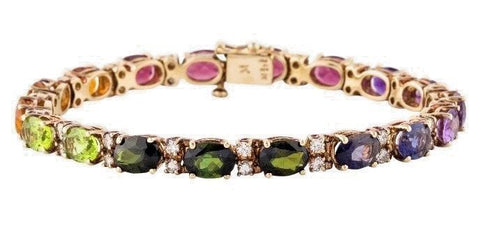 Vintage Retro 14k Gold Retro Rainbow Gemstone Diamond Line Tennis Bracelet