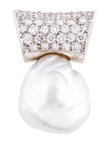 IMPRESSIVE Marlene Stowe 2.70 VS Diamond 19mm Baroque Pearl Large Pendant $13K