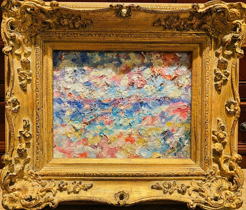 "KADLIC Original Oil Painting Abstract Seascape Beach Impasto 15"" Gold Gilt Frame"