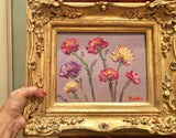 KADLIC Floral Poppies Flowers Original Oil Painting 9x12 +Gold Gilt Frame
