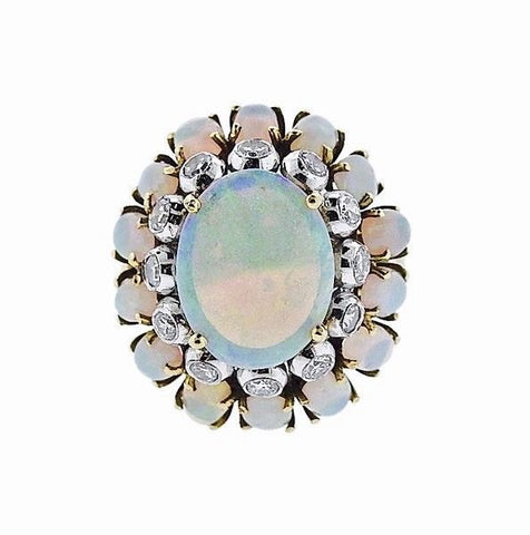 Stunning Estate Retro 1970s JGJLRY 18k Gold Opal Cabochon 0.70ct Diamond Ring