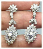 Estate 18k Gold G/VS 4.00ct Diamond Cluster Dangle Drop Pendant Earrings