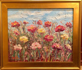 "24x20"" Wildflowers Floral Gardens KADLIC Original Oil Painting Art Gold Frame"