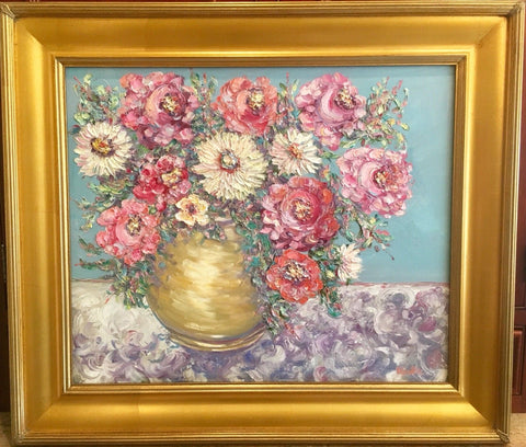 29x33 Vase Flowers Floral Still Life KADLIC Original Oil Painting Art Gold Frame