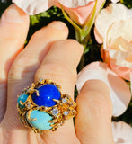 Vintage Heavy 1960s Retro 14k Gold Freeform Turquiose Lapis Diamond Ring