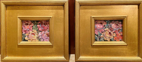 KADLIC Wildflowers Floral Original Oil PAIR Painting Gold Gilt Frame 10""