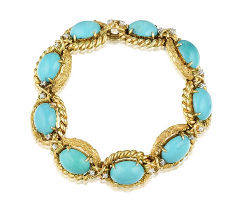 Stunning Heavy Vintage Estate 30 ct 14k Gold Turquoise Cabochon Diamond Bracelet