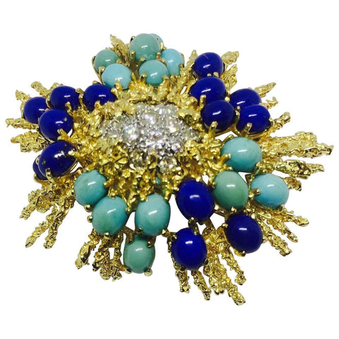 George Schuler 18k Gold Turquoise Lapis 0.98ct VS Diamond Brooch Pin Pendant