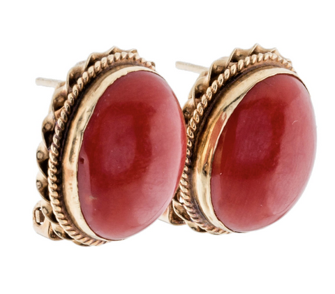 Vintage Estate Retro 1960s 18k Gold Natural Red Coral Drop Stud Earrings