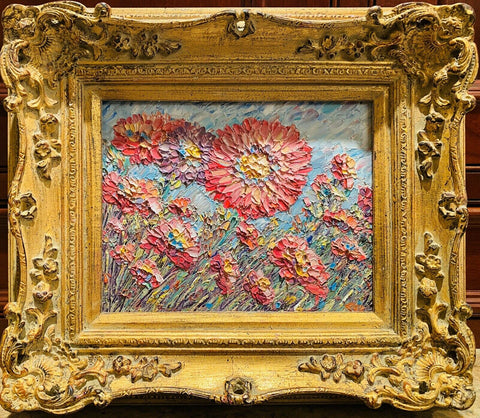 KADLIC Impasto Floral Still Life Wild Flowers Gilt Ornate Gold Wood Frame 15""