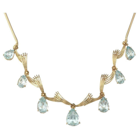 Stunning 1950s Retro Mid-Century 18k Gold Necklace Aquamarine Pendant Dangle