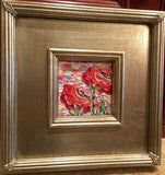 "KADLIC Abstract Modern Expressionist Original Oil Painting 10.5"" Gold Gilt Frame"
