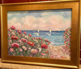 "KADLIC Floral Sailboats Seascape Original Oil Painting 18x24"" Gold Gilt Frame"