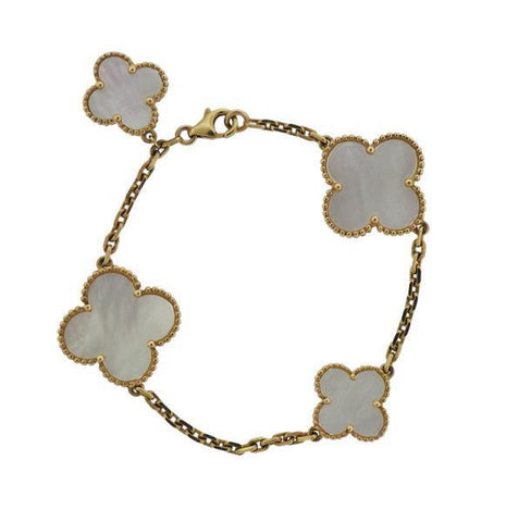 Van Cleef & Arpels Magic Alhambra Mother of Pearl Bracelet 18k Gold - 4 Motifs