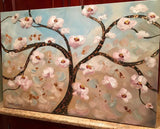 KADLIC Abstract White Blossoms and Gilt Bronze Tree Original Oil Painting 36x24