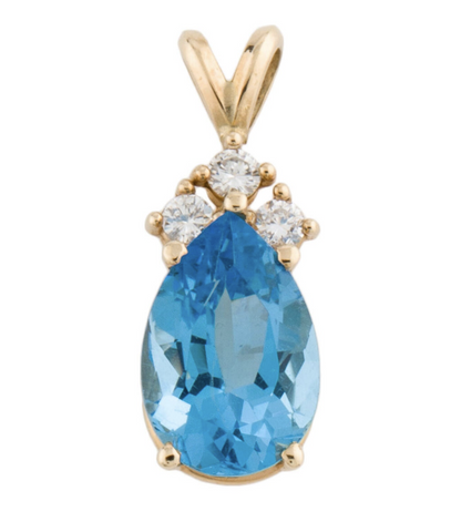 Vintage Estate 14K Gold 3.71ct Blue Topaz Diamond Pendant for Necklace