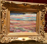 KADLIC Original Oil Painting Abstract Pale Colors Landscape Gold Gilt Frame 10""
