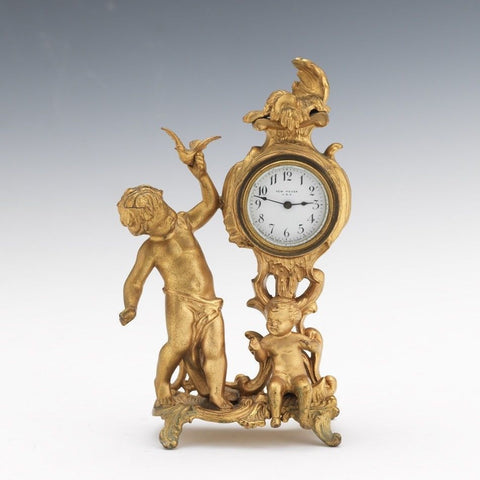 Lovely Gilt Bronze Washed New Haven Cherub Children Shelf Clock 9.5""