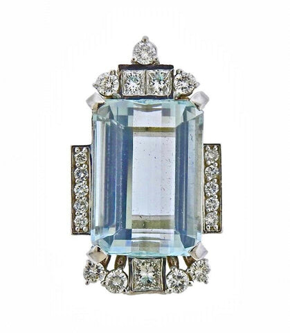 Art Deco Vintage 14k Gold Large 27ct Aquamarine Diamond Necklace Pendant