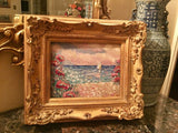 KADLIC Seascape Sailboat Water Beach Sea Landscape Gilt Wood Frame 8x10