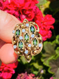 Vintage 1960s Jack Gutschneider JGJLRY 14k Gold Green Tourmaline Diamond Ring