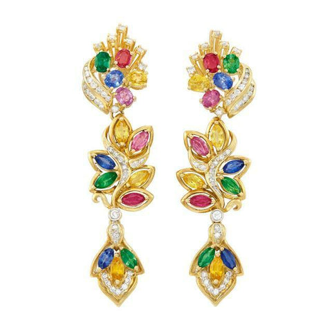 Stunning Pair of 18k Gold Multicolored Sapphire and Diamond Pendant-Earrings
