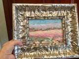 "KADLIC Abstract Impasto Landscape Original Oil Painting 9x12"" Silver Gilt Frame"