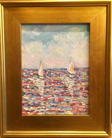 "KADLIC Abstract Seascape Blue Aqua Original Oil Painting 9x12"" Gold Gilt Frame"