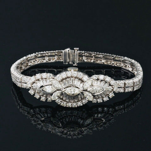 Vintage 1950s Art Deco Covered Hamilton Watch 7.65 ctw Diamond Bracelet Marquise