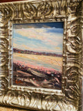 KADLIC Original Oil Painting Abstract Colored Impasto Silver Gilt Frame 14""