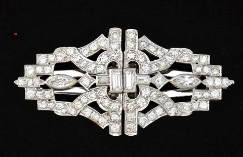 Antique Art Deco Vintage 6.00ct VS Diamond Brooch Dress Clips Midcentury