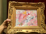 KADLIC Abstract Marble Pinks White Original Acrylic Painting Gold French Frame