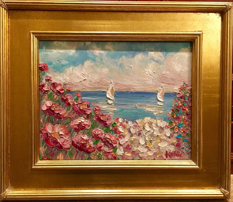 "KADLIC Abstract Beach Seascape Original Oil Painting 15x17"" Gold Gilt Frame"