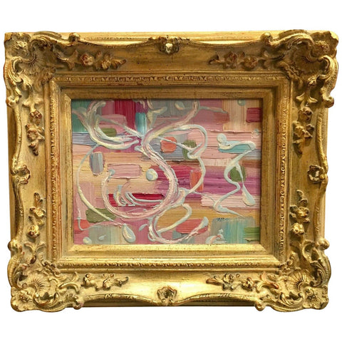 "KADLIC Abstract Modern Pinks Impasto Original Oil Painting 8x10"" Gold Gilt Frame"