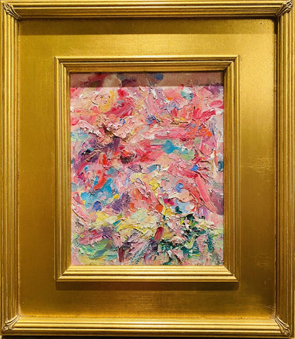 "KADLIC Original Oil Painting Abstract Modern Chunky Impasto Gold Gilt 16"" Frame"