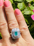 Vintage Ring-dant 14k Gold Emerald VS Diamond Ballerina Engagement Ring Pendant