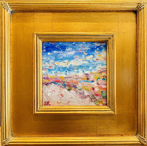 KADLIC Original Oil Painting Seascape Beach Abstract Impasto Gold Gilt Frame 10""