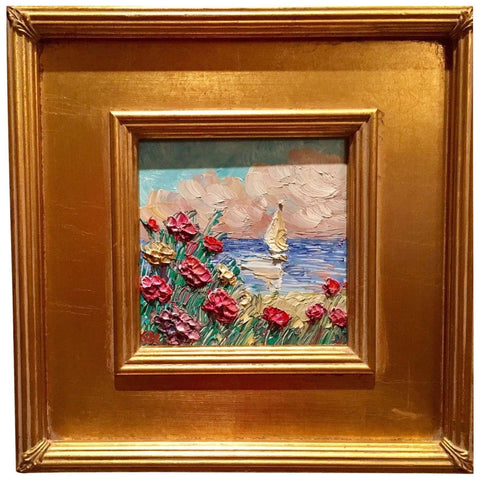 KADLIC French Seascape Sailboats Poppies Gold Gilt Wood Frame 10.5""