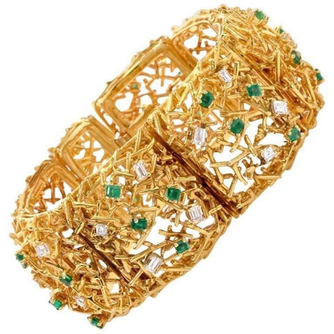 Heavy Vintage Midcentury 1970 Estate 18k Gold Emerald VS Diamond Bracelet 97g