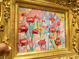 "KADLIC Abstract Marble Pinks Yellow Original Acrylic Painting Gold 15"" Frame"