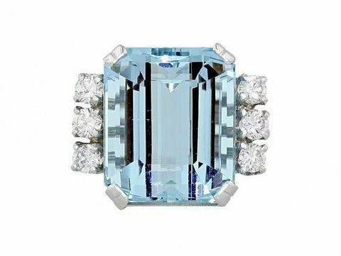 Retro Mid Century Vintage Estate 16.56 Carat Aquamarine VS Diamond Cocktail Ring