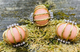 Vintage Estate Modernist 18k Gold Angel Skin Coral Diamond Earrings