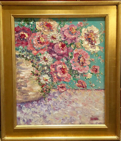 KADLIC Abstract Floral Still Life Impasto Original Oil Painting Gold Frame