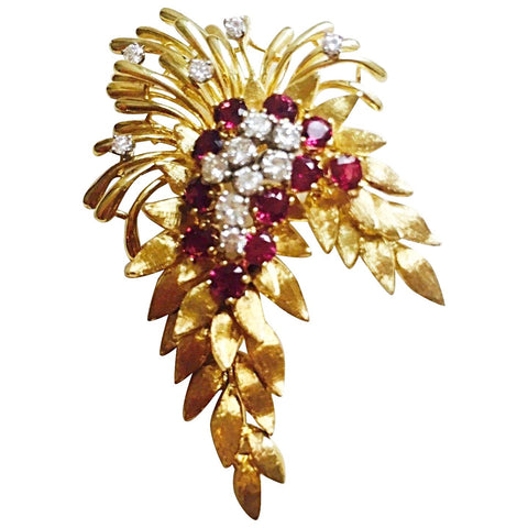 "Stunning Estate ""Des En France"" 18K Yellow Gold 4.84 Ruby G VS Diamond Pendant"