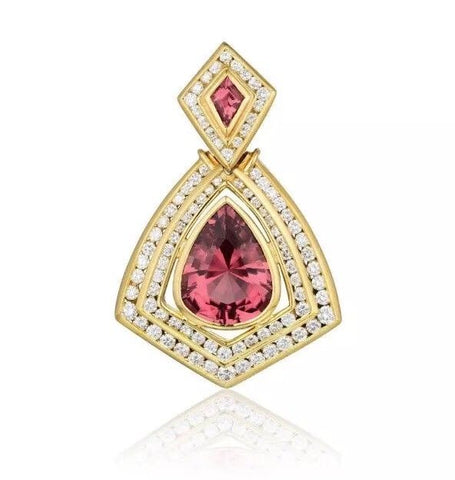 LA TRIOMPHE Estate 18k Gold 12ct VS Diamond Pink Tourmaline Necklace Pendant