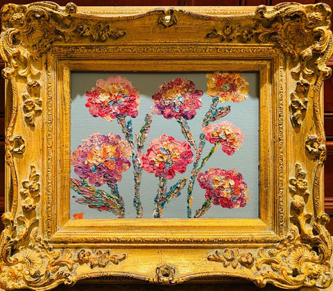 "KADLIC Floral Wild Flowers Original Oil Painting 15"" Gold Gilt Frame"