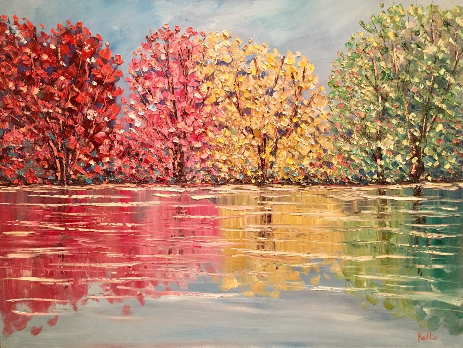 KADLIC Trees Autumn Fall Landscape Original Oil Painting 30x40""