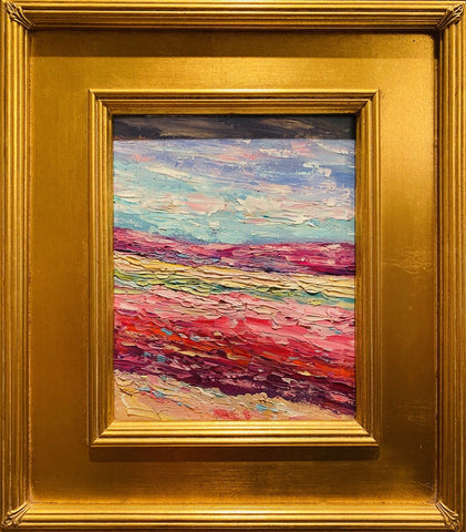 "KADLIC Original Oil Painting Abstract Modern Chunky Impasto Gold Gilt 15"" Frame"