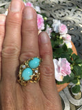 Gorgeous Retro 14k Gold Turquoise Cabochon Diamond Free Form Naturalistic Ring