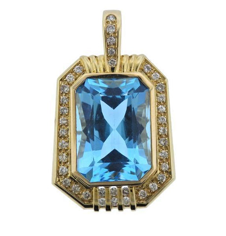 Vintage Estate Large 14k Gold VS 1.1ct Diamond 20ct Blue Topaz Necklace Pendant